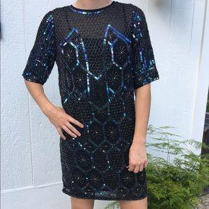 ASOS Black/Blue Sequin Shift Dress